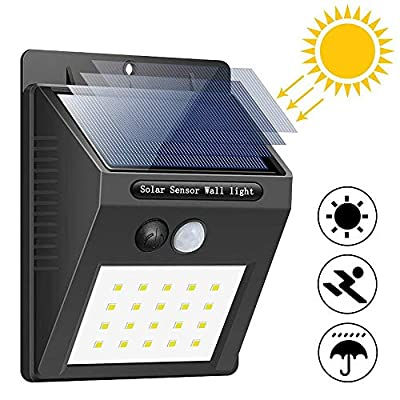 20LED Solar Lights Outdoor, Qcai Solar Powered Motion Sensor Wall Lights, Wireless Waterproof LED Step Night Light Security Porch Light for Front Door Yard Deck Pathyway Patio Garage Driveway -4 Pack
