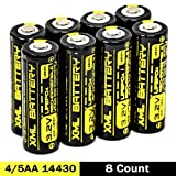 XML Battery 4/5 AA 14430 3.2v 400mAh LiFePO4 Lithium Rechargeable Battery Pack Replacement for Outdoor Solar Lights IFR 14430P (8 Pack)