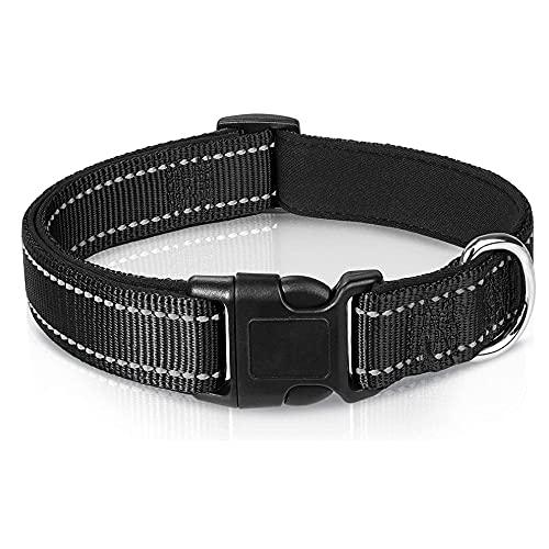 Kuyoly Collar de perro reflectante suave acolchado transpirable Nylon Pet Collar ajustable para perros pequeños medianos grandes
