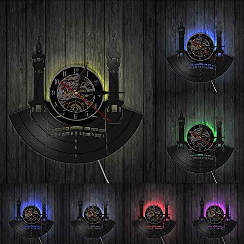 KDBWYC Honor Mecca Reloj de Pared con Disco de Vinilo islámico Peregrinos Musulmanes Kaaba Mecca Arabia Saudita Arte Decoración del hogar Reloj de Cuarzo silencioso Cinturón de Azulejos Led