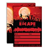 Zombie Attack Spooky Blood Red Moon Halloween Birthday Party Invitations, 20 5'x7' Fill In Cards with Twenty White Envelopes by AmandaCreation