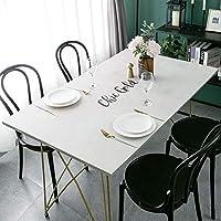 テーブルクロスプロテクター、レザーテーブルクロス拭き取り可能な長方形保護カバー、ホームレストランパーティービュッフェ用、カスタムサイズ、再利用可能な(白英語印刷),90X160CM