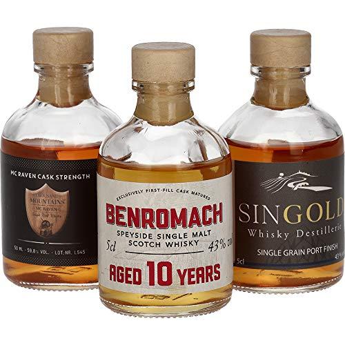 Foodist Whisky Tasting Probierset Miniaturflaschen (3 x 50ml) mit Benromach Single Malt, Singold, Thousand Mountains - Whiskey Geschenkset mit Hintergrundwissen und Tasting-Tabelle
