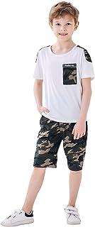 Camiseta de Manga Larga para niños + pantalón de Camuflaje, Conjunto de Ropa de 2 Piezas para niños