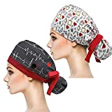 YUESUO 2 Pack Working Cap with Buttons and Sweatband,Cotton Working Hats with Adjustable Ponytail Pack Ribbon Tie Back Hats for Women & Men,Long Hair Head Covers Shower Caps