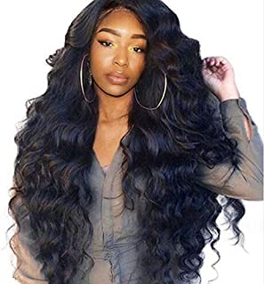 MaxFox Women Long Curly Hair Wig Middle Part Human Hair No Lace Front Big Wave Full Wigs for Brazilian Remy People (Black)