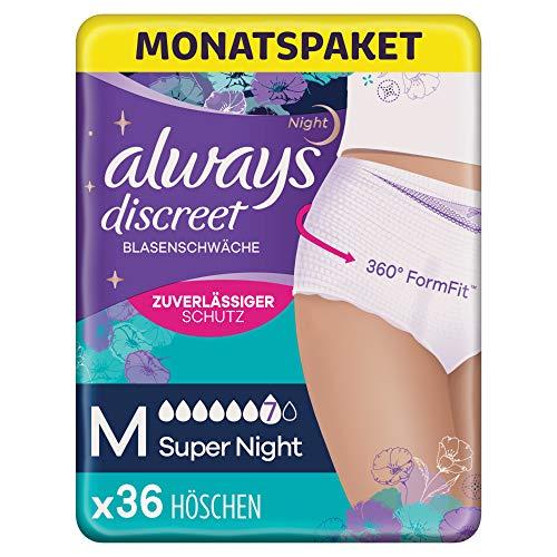 Always Discreet Inkontinenz Pants Gr. M, Super Night (36 Höschen) Monatspaket, diskreter Schutz & hohe Saugstärke, geruchsneutralisierend, 4 x 9 Stück