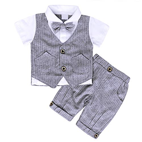 AmzBarley Gentleman Abiti Bambini Formale Camicia Pantaloni Giubbotto Cravatta Set di Vestiti Bimbo Ragazzi per Festa Compleanno Cerimonia Nozze Spettacolo Vacanza