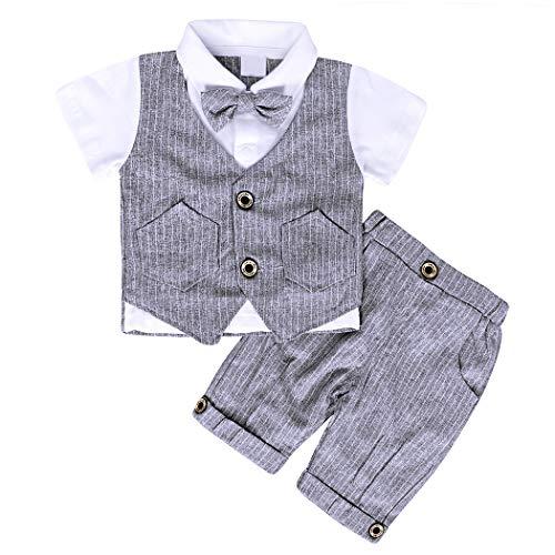 AmzBarley Gentleman Abiti Bambini Formale Camicia Pantaloni Giubbotto Cravatta Set di Vestiti Bimbo Ragazzi per Festa Compleanno Cerimonia Nozze