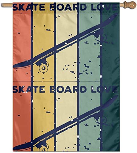 shuangshao liu Flagge Fahne Skateboard Love Welcome Game Flag Garden Home Vertical Flag 27 X 37 Inches