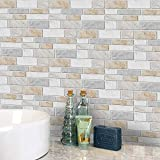 LUOWAN Adhesivo adhesivo para azulejos de pared autoadhesivo para azulejos de cocina, bricolaje de vinilo para baño (mármol cálido, 10,2 x 20,3 x 20,3 x 20,3 cm)