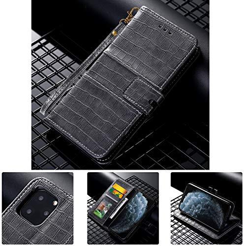 SevenPanda Wallet Case für P40 Pro Krokoprägung PU Leder Flip Case Cover [Stand Funktion] mit Handschlaufe [Kartenfächern] Ausweis Kredit Kartenfach für Huawei P40 Pro (Grau)