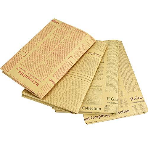 TANCUDER 20 Blatt Geschenkpapier Kraftpapier Retro Zeitung Vintage Geschenkpapier Packpapier 52 x 75cm/20.5 x 29.5inch Retro Geschenkpapier für Geschenke, Bücher, Blumen, Souvenirs (4 Farben)