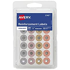 Durable long-lasting paper reinforcements that offer a touch of style Assorted metallic colors Repair and Strengthen punched Holes or use for crafting projects Standard size Holes won't rip or tear Permanent adhesive.