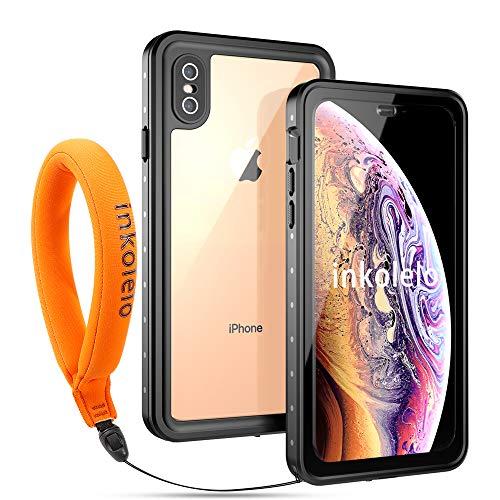Funda Impermeable iPhone X/XS Protección IP68 Waterproof 360-Grados Carcasa Case Protectora Antigolpes Anti-rasguños Impermeable Carcasa con Correa flotante para Apple iPhone X/XS (Negro mate/Naranja)