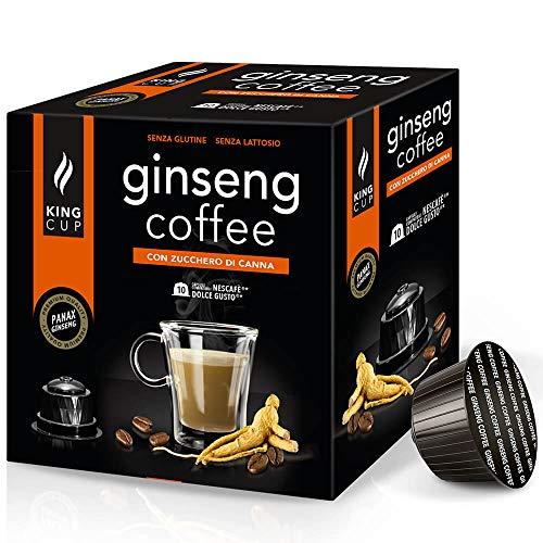 King Cup - 6 Paquetes de 10 Cápsulas Compostable de Ginseng con Azúcar de Caña, 60 Cápsulas 100% Compatible con el Sistema Nescafè Dolce Gusto de Bebida con Sabor de Ginseng, Sin Gluten y Sin Lactosa
