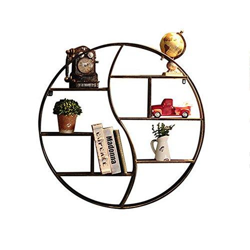 Bibliothèque Sexy- Support Rond Vintage en Fer Forgé Cadre Décoratif Tenture Décorations Murales Étagère Étagère À Livres Style Industriel 60 / 80cm (Taille : 80 * 12.5cm)
