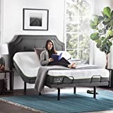 LUCID L300 Ergonomic Upholstered 5 Minute Assembly Dual USB Charging Stations Head and Foot Incline with Wireless Remote Control Adjustable Bed Base, Queen