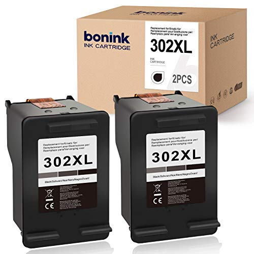 BONINK Compatibile per HP 302 XL 302XL Cartucce per stampanti rigenerate per HP Officejet 3830 3831 3833 4650 4654 5230 Deskje 1110 3630 3636 3639 Envy 4520 4525 4527 Drucker 2 Nero