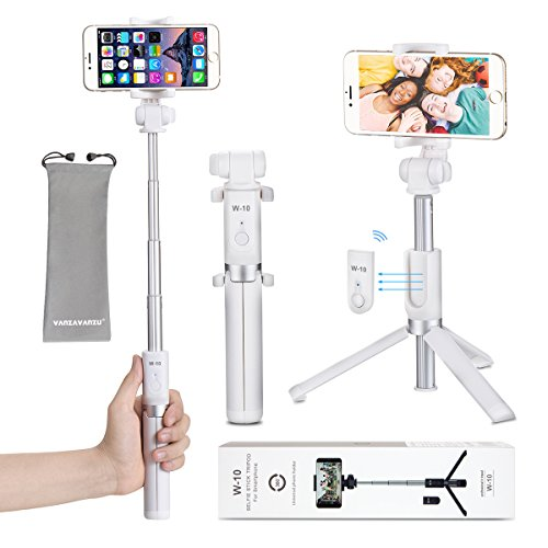 Selfie Stick - VANZAVANZU Extendable Selfie Stick Phone Tripod Monopod Detachable Bluetooth Wireless Remote Shutter for iPhone x xr xs max 6 6s 7 8 Plus Samsung Galaxy s8 s9 s10 j7 Note 9 8 - White