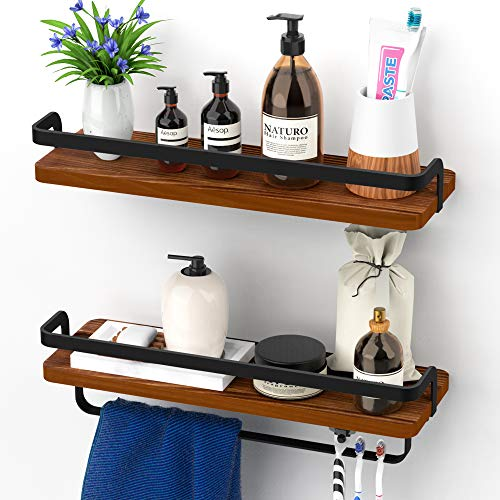 Avantru, Bathroom Floating Shelves, Bathroom Wall Shelves, 100% Solid Pinewood, Shelf with Towel Bar, Rustic Wall Shelves, for Kitchen, Bathroom, Set of 2 - Organizing Décor, Cosmetics, Toiletries
