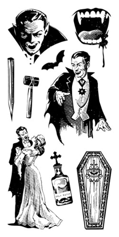 Inkadinkado Vampire Night Halloween Clear Stamps Set, 9 pc