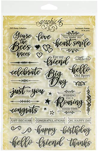 GRAPHIC 45 4501984 Staples Stamps Sentiment, Assorted