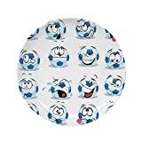 Ylljy00 Sports Decor 10' Dinner Plate,Cartoon Soccer Ball with Many Expressions Bored Laughing Happy Print Ceramic Decorative Plates,Dining Table Tabletop Home Decor,