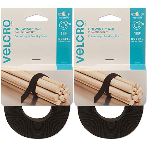 Velcro 90340 2 Pack 12ft. x 3/4in. One Wrap Rolls, Black