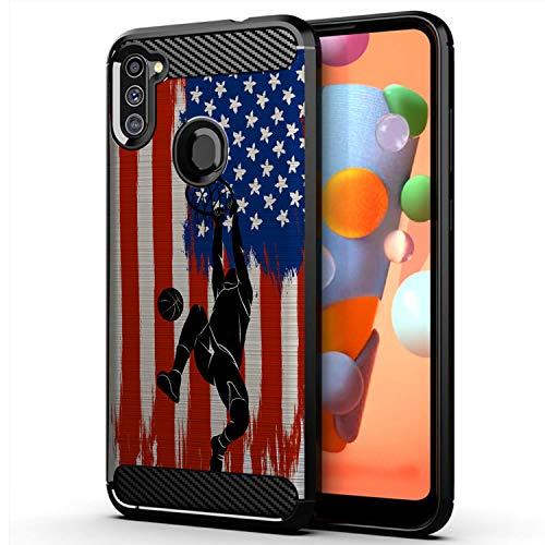 CasesOnDeck Case Compatible with [Samsung Galaxy A11 / A11 Case (2020)] Slim TPU Carbon Fiber Accent Scratch and Drop Protector USA Sporst Flag Theme -Basketball