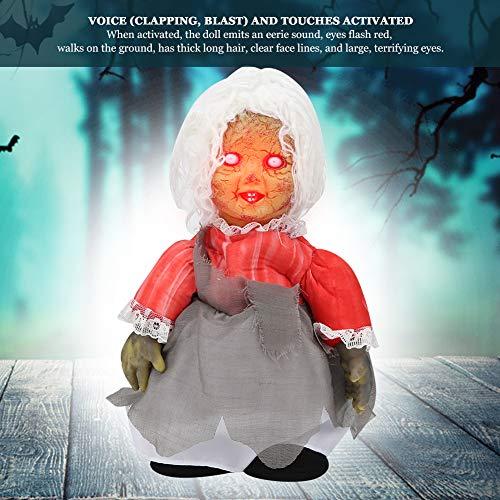 Muñeca que camina aterradora, muñeca que camina espeluznante vívida con control de voz, barra de decoración de fiesta de Halloween encantada para el hogar(Z113 walking ghost baby with white hair)
