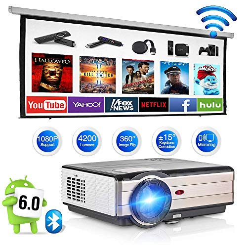 Wireless WiFi Bluetooth HDMI Projector 4200 Lumen LED LCD Home Theater Android 6.0 Smart Projector Support 1080P USB VGA AV Port for Basement Game Outdoor Movie Karaoke Smartphone Fire TV Stick TV Box