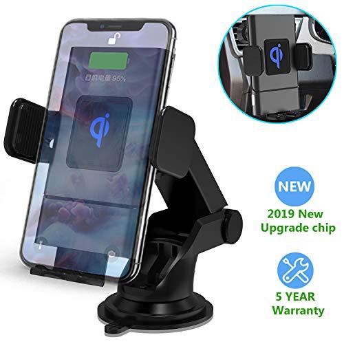 Wireless Charger Auto Halterung, Automatische Qi Handy KFZ Halter 10W/7.5W/5W Kabelloses Ladegerät für Samsung S10/S10+/Note 10/S9/S8, iPhone 11/11 Pro+/XR/Xs Max/X/8+