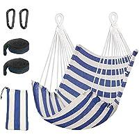 Hammock Chair BMK Hanging Rope Swing Relax Chair Cotton Weave Tree Swing Seat for Indoor Outdoor Bonus 2 Carabiners & 2 Webbings - Max 330lbs