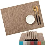 PABUSIOR Placemats Set of 8 Washable - Easy to Clean Woven Vinyl Placemats for Dining Table, Non-Slip Durable Crossweave Table Mats (12 X 18 Inch Beige)