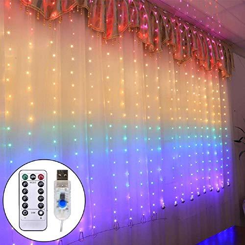 LED Lichtervorhang 1.5 x 2Meters, Etmury 210 LED USB Lichterkettenvorhang mit 8 Modi für Party Deko Schlafzimmer, Innenbeleuchtung, Weihnachten, Außen, Regenbogenfarbe