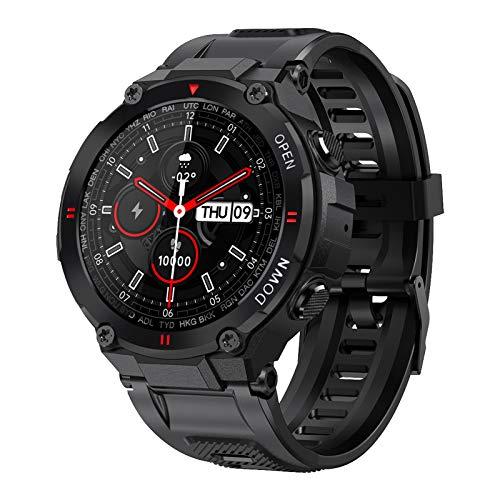 FOTGL 2021 Nuevo Reloj Inteligente Hombres Deporte Fitness Bluetooth Call Multifunción Music Control Music Reloj de Alarma Recordatorio Reloj Inteligente para teléfono (Color : Black)
