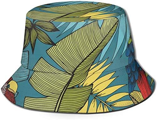 BONRI Sombreros de Cubo Transpirables con Parte Superior Plana Unisex Jungle Leaf Patrón de Loro Colorido Sombrero de Cubo Sombrero de Pescador de Verano-Plantas Tropicales Loro Colorido-Talla única