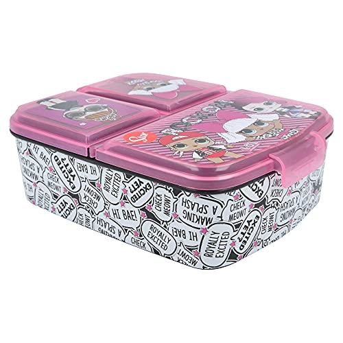 Stor LOL Surprise | Brotdose mit 3 Fächern für Kinder - Kids Sandwich Box - Lunchbox - Brotbox BPA frei