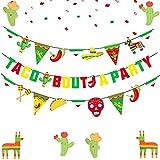 JeVenis - Set di 2 bandierine Taco Bout A Party Banner Messicano Festa, Decorazioni per feste Cinco De Mayo, Festa di Compleanno Fiesta Baby Shower Forniture