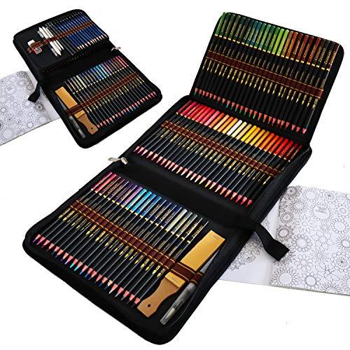 Aquarell Buntstifte Set für Erwachsene, 96 Stück Buntstifte zum Zeichnen und Skizzieren Profi Art Werkzeug Set mit Graphitkohlestifte Sticks Werkzeuge für Anfänger Kinder Künstler