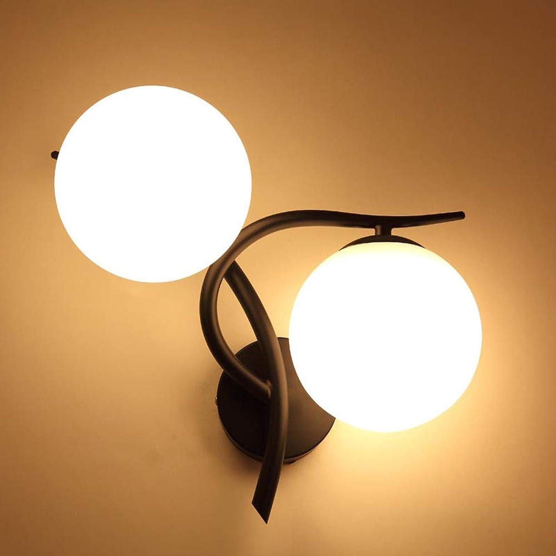 LED Schlafzimmer Wandleuchten AC 220V E27 Wandleuchte Modernes Design Schlafzimmer NachtverGoldung Technik LED Glas Wandleuchten AC90-260V Gold schwarz (Farbe   Schwarz-B)
