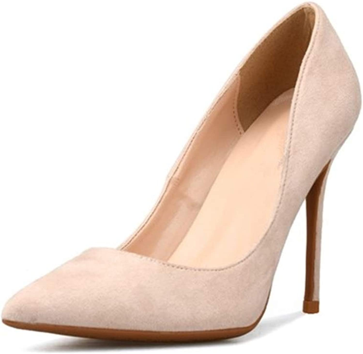shoes Fashion Lady High Stiletto Heels D'Orsay Pumps for Women Faux Suede Leather Pointed Toe Lined Dress shoes  Pointed, Classic Slip On Dress Pumps Comfortable