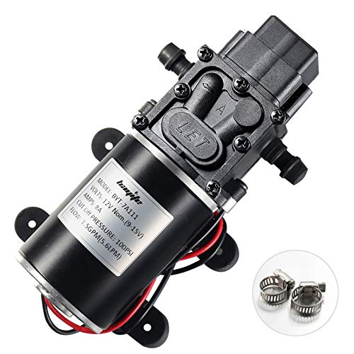 bayite 12V Diaphragm Water Pump, 1.5 GPM (5.6 L/Min) 100 PSI, 12 Volt DC Fresh Water Pump with 2 Hose Clamps, Self Priming Sprayer Pump with Pressure Switch Adjustable for RV Camper Marine Boat Lawn
