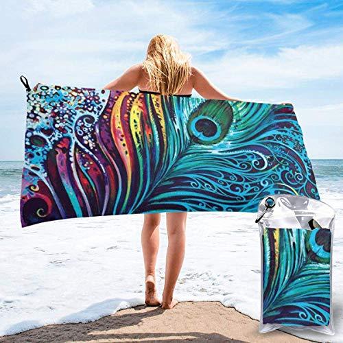 Beach Towels Toalla ligera de secado rápido de pavo real de color Toalla súper absorbente sin arena para viajes, natación, gimnasio, yoga 140X70CM