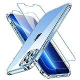 "CANSHN Funda para iPhone 13 Pro, [2X Protector de Pantalla] Carcasa Protectora Antigolpes Transparente con Parachoques de TPU Suave Flexible [Slim Delgada] Compatible con iPhone 13 Pro 6,1"" - Clara"