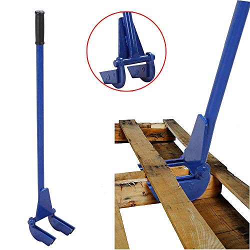 Yaheetech Pallet Tool Pallet Buster Breaker 44in, Wrecking Bar with Double Demolition Forks Blue
