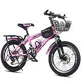 Axdwfd Infantiles Bicicletas Bicicletas Jóvenes De 18 A 20 Pulgadas, Bicicletas para Amortiguador, Bicicletas De Montaña, Adecuadas para Niños Y Niñas De 7 A 14 Años.(Size:20in,Color:Rosa)