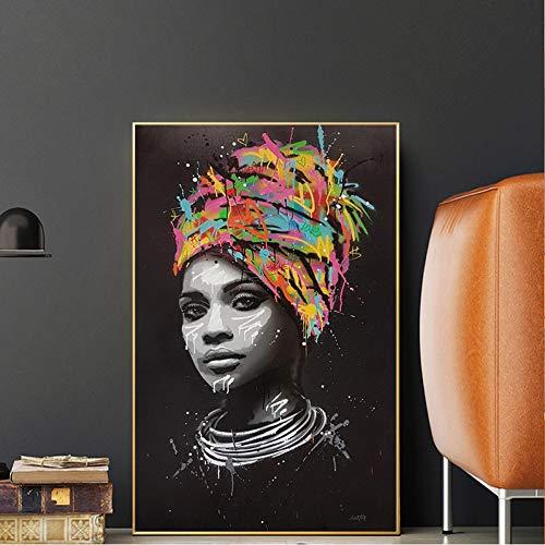 suhang abstracte zwarte vrouw poster en prints portret canvas schilderij muur Pop Art afbeelding voor woonkamer decoratie 60x80cm no frame ongeframed.