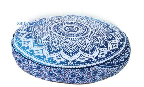 GDONLINE - Funda de Almohada Redonda Grande de 35 Pulgadas, Decorativa, con diseño de Mandala Indio ombré, diseño Indio, Bohemio, otomano, Funda de Almohada con pompón, Funda de cojín para Exteriores